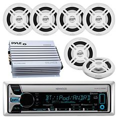 "New White Marine Stereo AM FM USB SD Aux Receiver 400W Amp 4 6.5/"" Speaker// Cover"