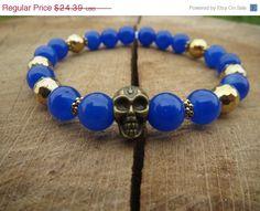 VALENTINE SALE Men Skull Bracelet Mens by BohemianChicbead on Etsy