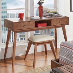 HomeVance Skagen Walnut Finish 2-Drawer Vanity & Upholstered Stool 2-piece Set, Brown