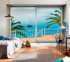 Fotomural ventana vista playa de fácil colocación solamente encolar la pared, calidad tejido no tejido en  http://www.papelpintadoonline.com/es/fotomurales-komar-tejido-no-tejido/28174-fotomural-balcon-vista-playa-paisaje-natural-tejido-no-tejido-tranquillo-xxl4-050.html #ventanaplaya #muralplaya