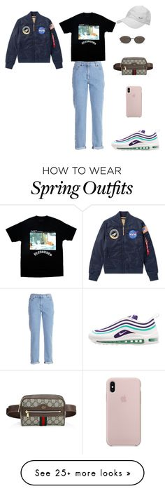 """Anna Style"" by miss-dennitsa on Polyvore featuring Moschino, NIKE, Ann Demeulemeester, Gucci and rainydayoutfit Ann Demeulemeester, Polyvore Outfits, Caps Hats, Spring Outfits, Moschino, Anna, Gucci, Nike, How To Wear"