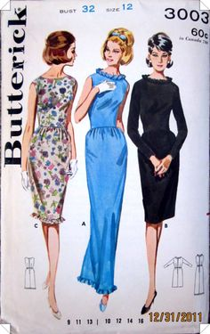 Butterick 3003 Womens French Darted Dress Pattern by Denisecraft, $7.99