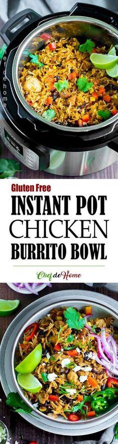 Chipotle Chicken Burrito Bowl in Instant Pot