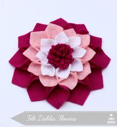 """Lines Across"": Felt Dahlia Flowers"
