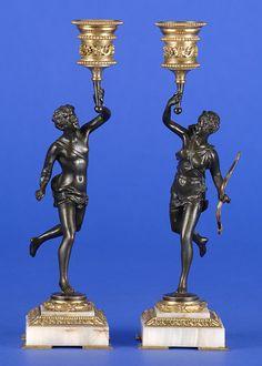 Paar Kerzenhalter von Ernest Rancoulet Frankreich 19. Jhdt. Diana und Merkur. Bronze, vergoldet und patiniert. Signiert. Onyxsockel. H 26,5 cm