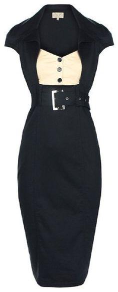 Lindy Bop 'Wynona' Chic Vintage 1950's Secretary Style Black Pencil Wiggle Dress at Amazon Women's Clothing store
