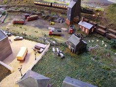 Model Train Layout with Factory