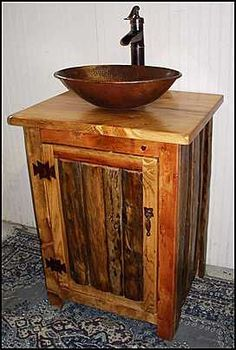 I want a purposed hand washing sink in the Perfect Kitchen. I want THIS purposed hand washing sink. Rustic Bathroom Vanity with Copper Vessel Sink MS1373-25. $1,295.00, via Etsy.