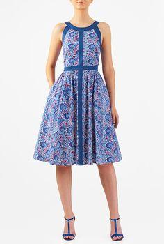Floral print cutout back cambric dress #eShakti