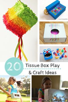 20 TISSUE BOX PLAY AND KIDS CRAFT IDEAS USING TISSUE BOXES!