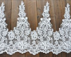 Super Wide Alencon Lace Trim Luxury Wedding Lace Trim Embroidered Retro Lace Bridal Veil Lace 13.7 Inches Wide 1/2 Yard