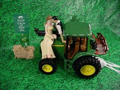 Custom Tan Skin Groom Farmer Green JD Lover Outdoor John Deere Tractor Farm County Rustic So In Love Mixed Couple Wedding Cake Topper -2A