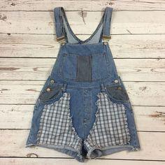 Womens LA Blues Bib Overalls Blue Jean Patchwork Plaid Shorts Light Wash - SMALL #LABlues #CasualShorts