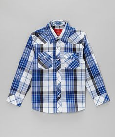 Take a look at this Blue & White Plaid Western Snap Top - Toddler & Kids on zulily today!