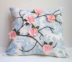 Pink Cherry Blossom Pillow Cover Felt