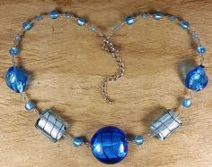 *Freedom Tree*  Ocean Blue  Murano Glass Necklace /& Real Silver Handmade Beads