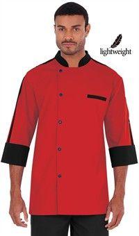 Men's Contrast Trim 3/4 Sleeve Chef Coat - Snap Front Closure - 65/35 Poly/Cotton Poplin Style # 281357 #chefuniforms #menschefwear #mensclothing #chef #chefcoat #coat #men #red #black