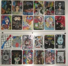 Take a chance.. First year IB art students were given a collaged background and then were dealt a card and were to asked to create imagery relating to their own lives.