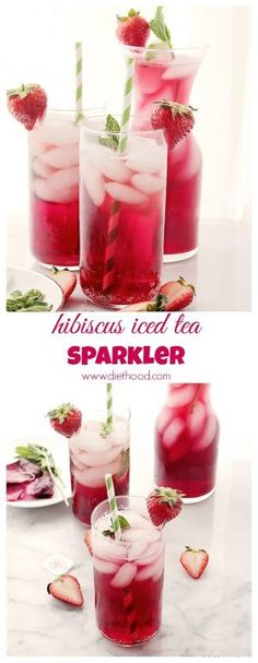 Hibiscus Iced Tea Sparkler   www.diethood.com   A very refreshing and delicious summer-drink made with hibiscus tea and sparkling water.    #drinks #recipe by morecerv.