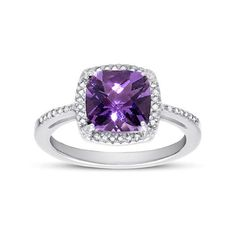 2.60 Carat Cushion-Cut Amethyst and Diamond Halo Cocktail Ring in... ($225) ❤ liked on Polyvore featuring jewelry and rings