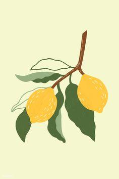 Hand drawn lemon design resource mockup | premium image by rawpixel.com / Noon Peach Wallpaper, Lemon Art, Free Hand Drawing, Fruit Painting, Fruit Art, Grafik Design, Simple Art, Mellow Yellow, Aesthetic Art