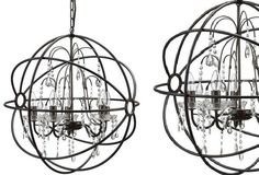 Large Sphere Chandelier With Glass Crystals - From Antiquefarmhouse.com - http://www.antiquefarmhouse.com/current-sale-events/industrial12/metal-sphere-chandelier-with-glasscrystals.html