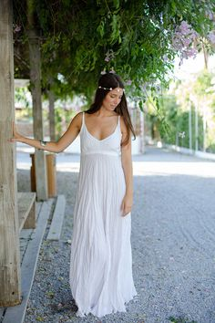 Long Pure White Linen Dress with Adjustable Straps by azulsol