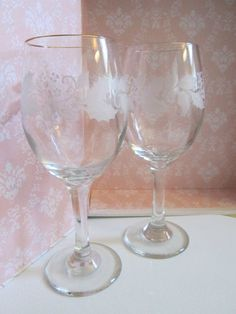Vintage Gold-rimmed Christmas Wine Glasses -- Frosted Holly Leaves