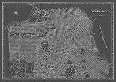 1944 San Francisco Street Map Vintage 13x19 Gray Print Poster on Etsy, $12.95