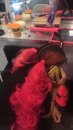 Baddie Hairstyles, Ponytail Hairstyles, Girl Hairstyles, Fringe Hairstyles, Trendy Hairstyles, Hair Ponytail Styles, Curly Hair Styles, Natural Hair Styles, Dyed Natural Hair