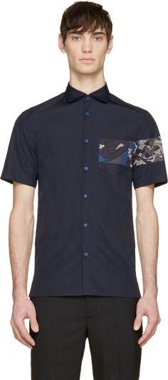 Kenzo - Navy Printed Panel Shirt