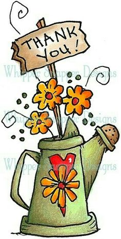 Thank You Watering Can - Whimsical - Floral/Garden - Rubber Stamps - Shop Doodle Drawings, Doodle Art, Country Paintings, Flower Doodles, Tole Painting, Watercolor Cards, Whimsical Art, Mail Art, Clipart