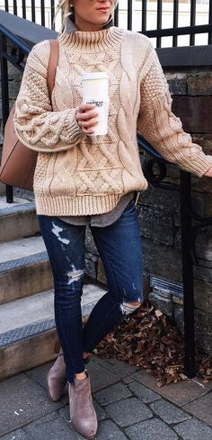 #winter #fashion / Beige Wool Knit / Ripped Skinny Jeans / Grey Suede Boots