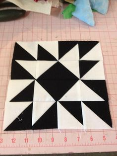 Block 63 by knit 'n lit blog - Modern Half Square Triangle Quilt-a-Long