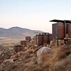 Grupo Habita's Hotel Endémico in Valle de Guadalupe, Baja California. Baja California, Rosarito, Modular Homes, Greatest Adventure, Summer Travel, Hotels And Resorts, Vacation Trips, Lodges, Ranch