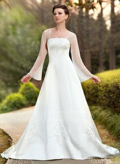 Ren-Faire, Princess, or Fairie, you can be Arwen to his Aragorn. Plus sizes, colors, pick embroidery color, too. A-Line/Princess Square Neckline Chapel Train Chiffon Satin Wedding Dress With Embroidery (002011989)