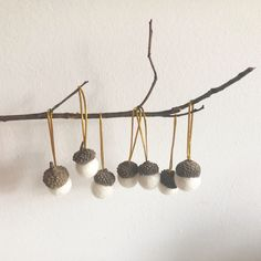 Excited to share this item from my #etsy shop: Lovely hanging acorns with felt balls and real acorn caps