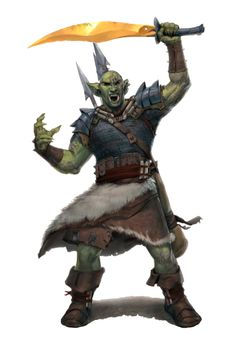 Orc Male Barbarian or Fighter - Pathfinder PFRPG DND D&D d20 fantasy