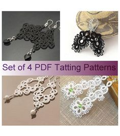 Set of 4 pdf Tatting Patterns  tatted lace by TattingPatterns