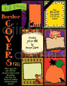 Border Covers for fall, fall borders, halloween borders, fall project covers