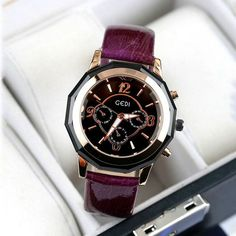 New Red,Purple,Black Ladies Watch GEDI Leather women watches casual ladies quartz watch fashion sports waterproof