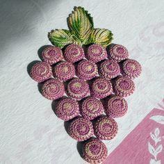 Vintage Crochet Grape Bottle Cap Hot Plate Pad