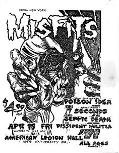 Misfits-Septic Death-7 Seconds-Poison Idea-Dissident Militia @ American Legion Hall Boise ID 4-15-83