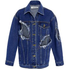 Distressed Denim Jacket | Moda Operandi (1.510 RON) ❤ liked on Polyvore featuring outerwear and jackets