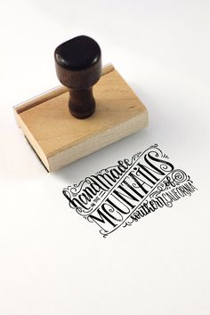 FULL CUSTOM Hand lettered stamp handmade by HowjoyfulShop