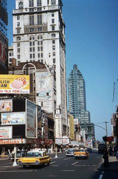Looking west from 42nd & Broadway (1960's color photos via Retronaut).