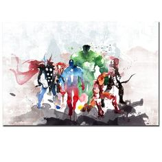 Watercolor Marvel Poster Superheros Hulk Iron Man Thor Wall Pictures Living Room Decoration Kids Wall Art Abstract Home Decor Canvas Art Prints, Canvas Wall Art, Bedroom Canvas, Canvas Paintings, Painting Art, Kids Watercolor, Graffiti Wall Art, Kids Room Wall Art, Captain Marvel