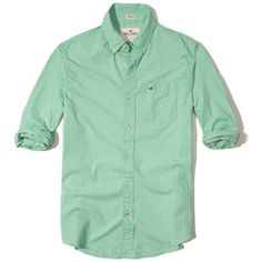Hollister Stretch Poplin Shirt ($40) ❤ liked on Polyvore featuring men's fashion, men's clothing, men's shirts, men's casual shirts, green, mens tailored shirts, mens poplin shirt, mens stretch shirts, mens classic fit shirts and mens slim fit casual shirts