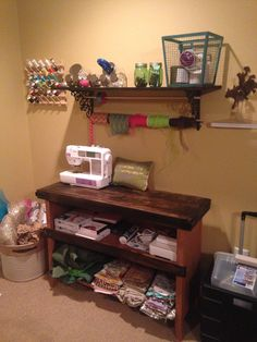 Repurposed bookshelf for sewing and craft room