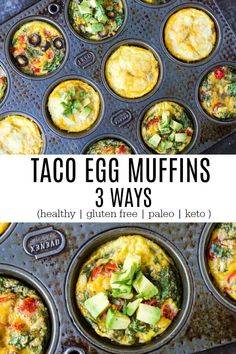 Taco egg muffins made 3 ways. Easy to make low carb and very filling. Gluten free Paleo (minus the cheese) keto and compliant (minus cheese. Gluten Free Recipes For Breakfast, Gluten Free Breakfasts, Whole 30 Recipes, Paleo Recipes, Whole Food Recipes, Muffin Recipes, Dinner Recipes, Whole 30 Breakfast, Paleo Breakfast